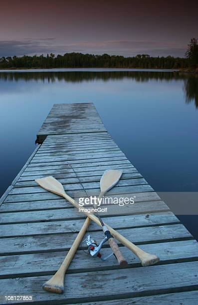 Fishing Gear on Lake Dock at Dusk