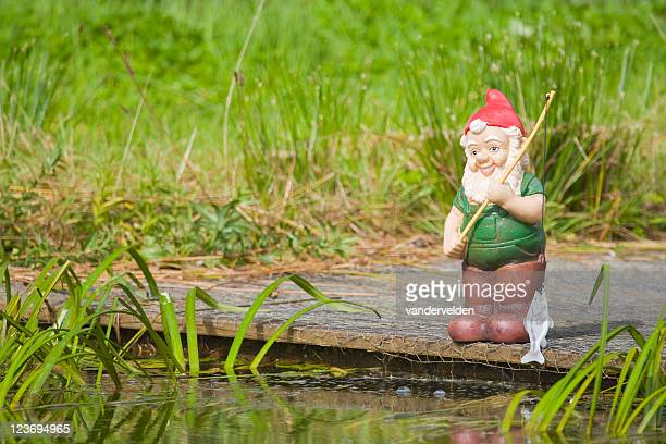 fishing gnome series - gnome stock pictures, royalty-free photos & images