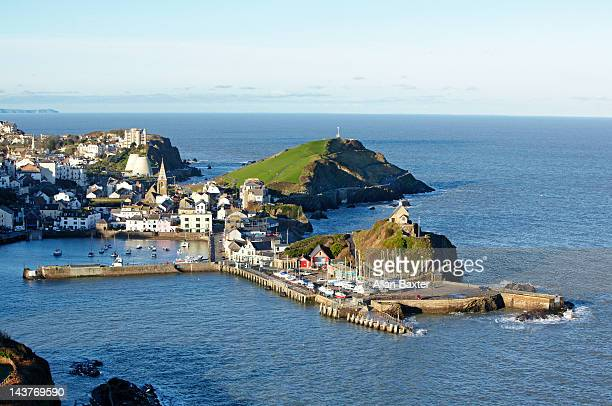 fishing harbour at sunrise - ilfracombe stock pictures, royalty-free photos & images
