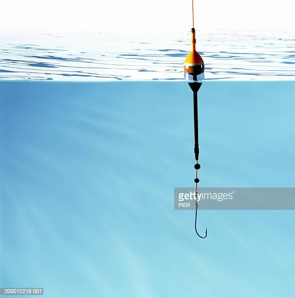 Fishing hook and float, hook under water