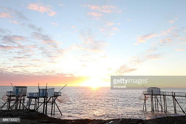 Fishing huts along the coast, Saint-palais-sur-mer, rochefort, France
