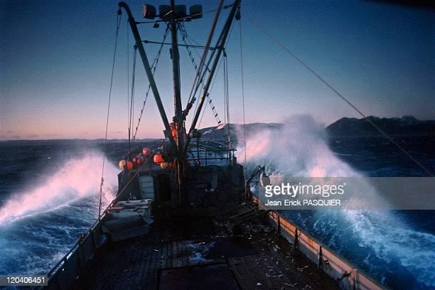 Fishing in Alaska in United States - Crab fishing boat for king crab, Bering Sea.