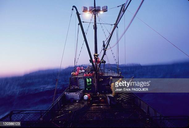 Fishing in Alaska in United States Crab fishing boat in the midst of a storm