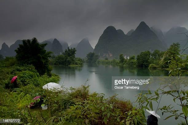 Fishing in rain, China