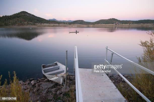Fishing lake sunset