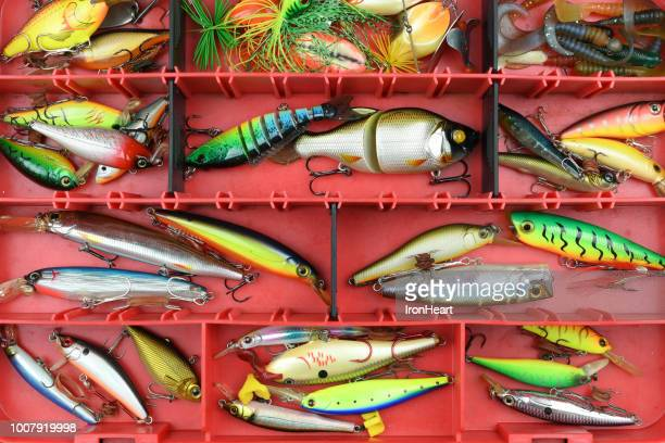 fishing lures in the box. - fishing hook stock pictures, royalty-free photos & images