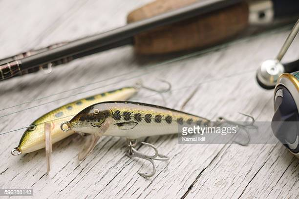 fishing lures - pike fish stock pictures, royalty-free photos & images