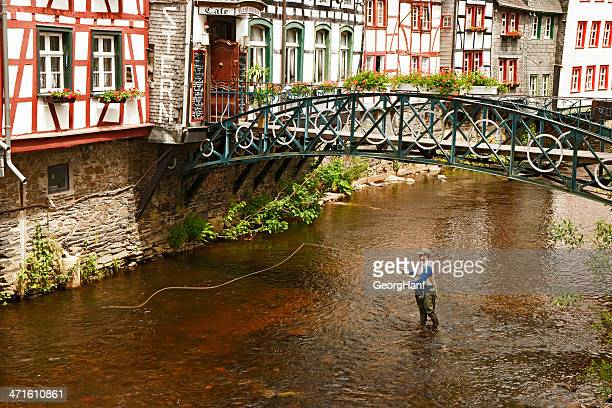 fishing men at the rur - aachen stock pictures, royalty-free photos & images