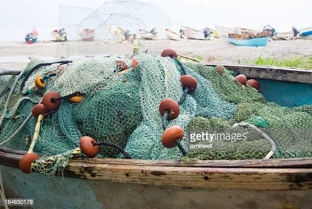 fishing net in boat