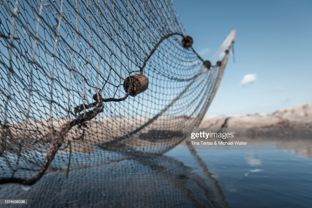 A fishing net on the beach in the water. : Stock-Foto