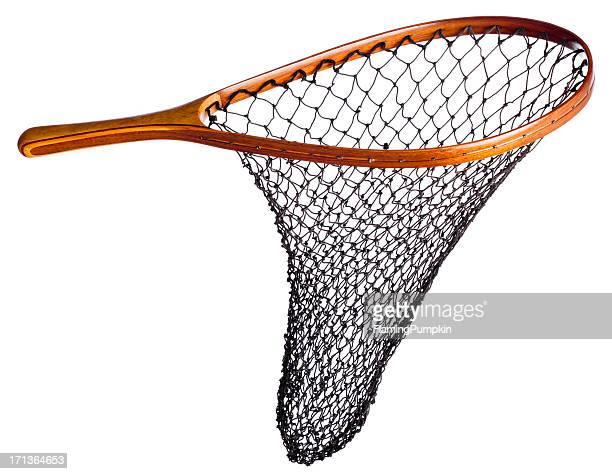 Fishing net with wood handle, isolated on white.