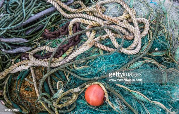 Fishing nets and and ropes at the port of Travemünde, Germany