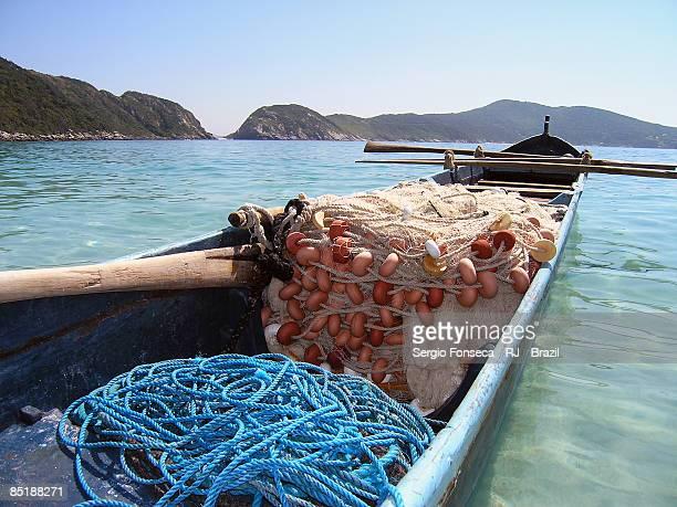 fishing nets in boat - arraial do cabo imagens e fotografias de stock