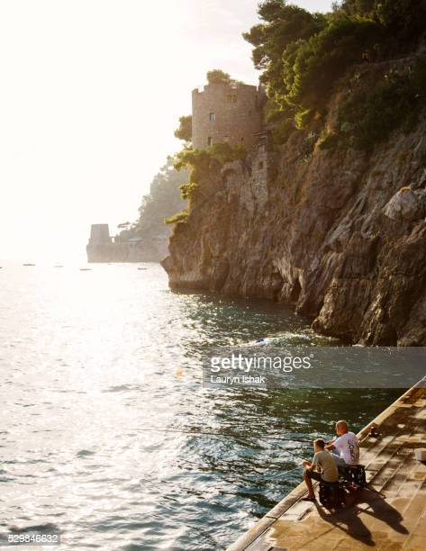 Fishing off the coast of Positano, Italy