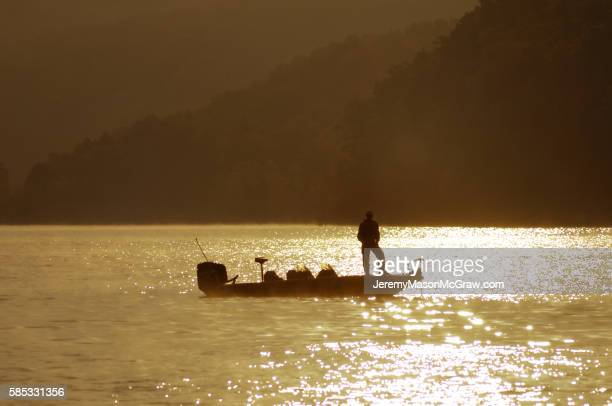 fishing on beaver lake near eureka springs, arkansas - ozark mountains stock pictures, royalty-free photos & images
