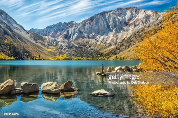 Fishing on Convict Lake in Autumn, Eastern Sierra California