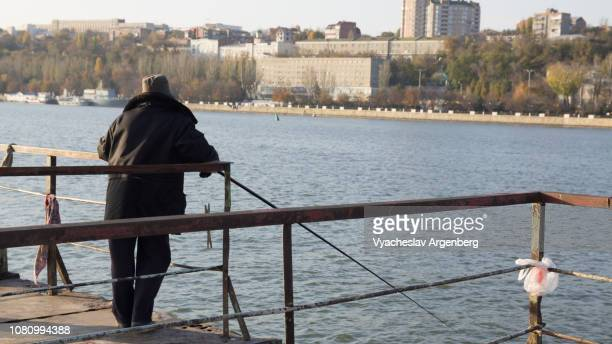fishing on don river in rostov-on-don, russia - argenberg ストックフォトと画像