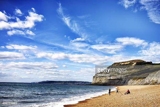 seatown pesca en la playa - lyme regis fotografías e imágenes de stock