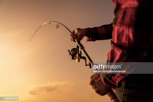 fishing on the lake at sunset. fishing background. - pike fish stock pictures, royalty-free photos & images