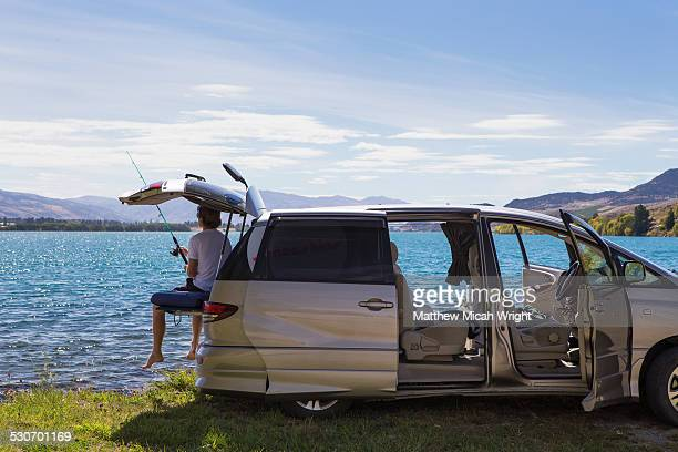 Fishing on the shores from inside a car