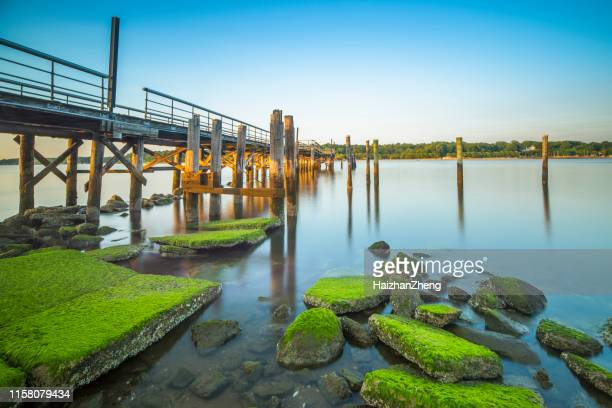 a fishing pier during dusk - nassau stock pictures, royalty-free photos & images