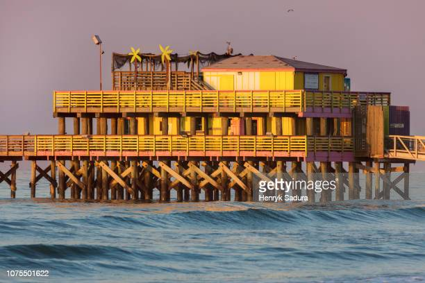 fishing pier in galveston - texas gulf coast stock photos and pictures
