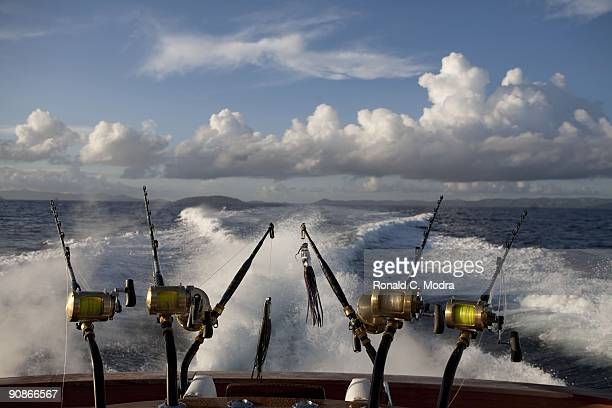 Fishing poles for fishing for blue marlin on September 11 2009 in St Thomas US Virgin Islands