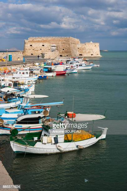 fishing port in heraklion, crete, greece - herakleion stock photos and pictures