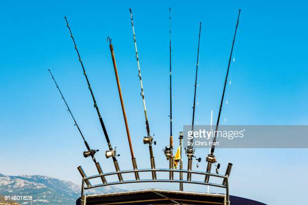 Fishing rods fanned on top of a fishing boat.