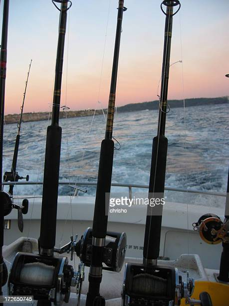 Fishing rods on a boat heading out to sea