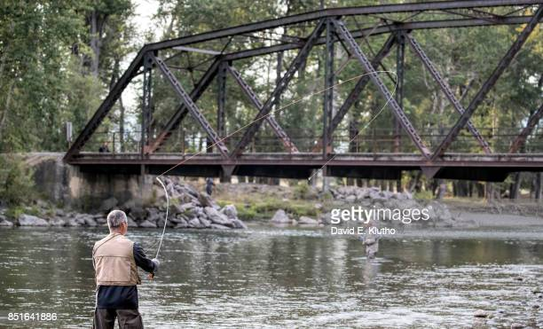 Scenic view of angler in action on the Gallatin River off of Highway 191 Bozeman MT CREDIT David E Klutho
