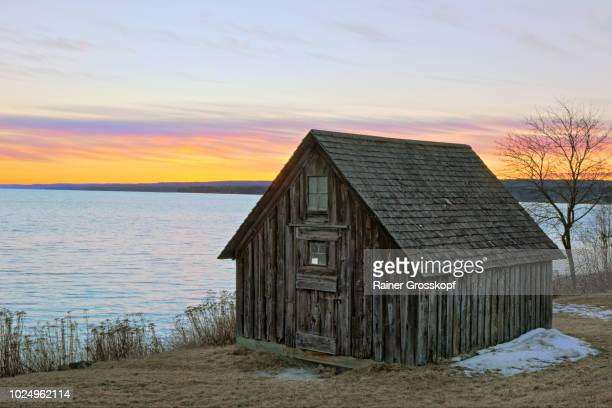 Fishing Shack at Stoney Point on Lake Superioe in winter