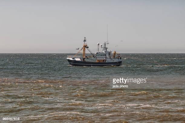 fishing ship with trawl fishing on the North Sea
