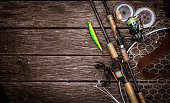 Fishing tackle background. Fishing design elements.