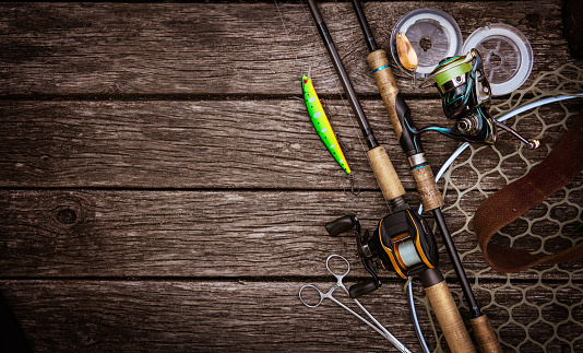 Fishing tackle background. Fishing design elements. 897957846