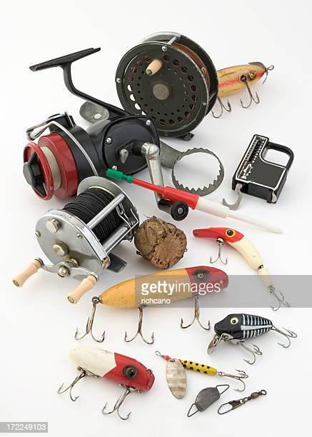 Fishing tackle objects displayed on a white background