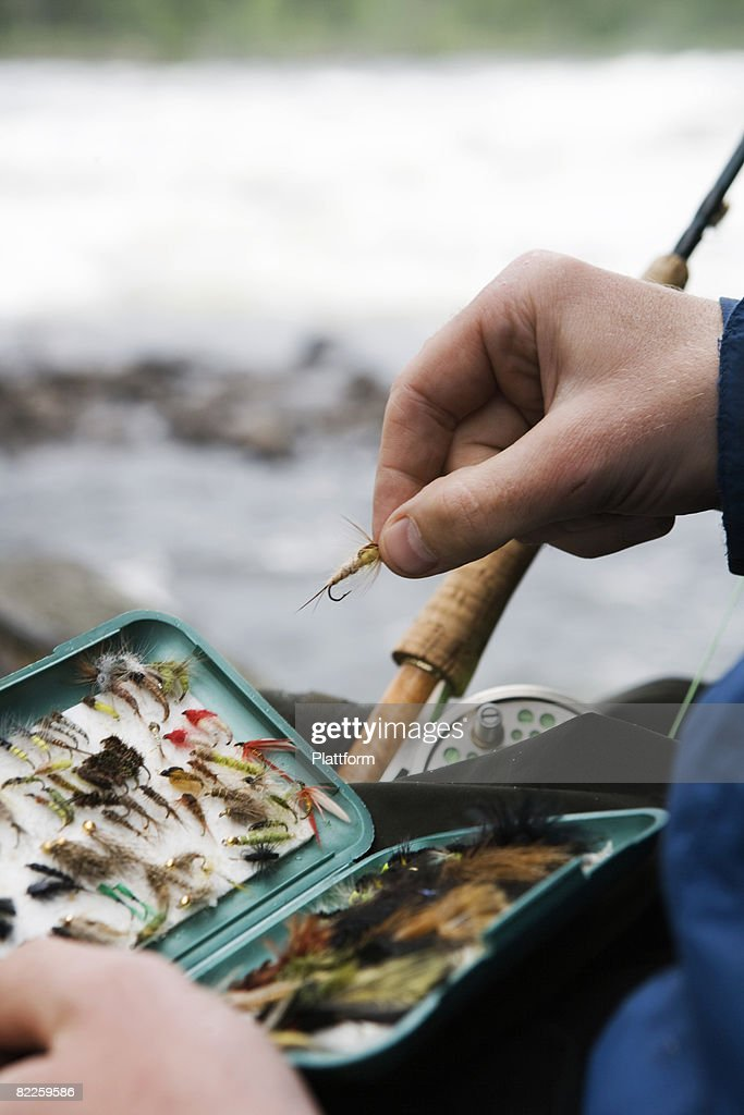 Fishing tackle used for fly-fishing Sweden. : Stock Photo