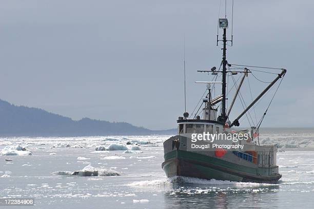 Fishing Trawler in Ice Filled Alaskan Water