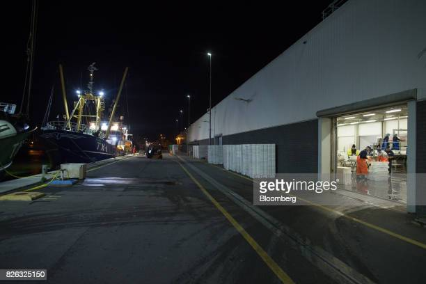 A fishing trawler sits docked as workers prepare the morning's catch ahead of auction at the port of Den Helder Netherlands on Friday Aug 4 2017...