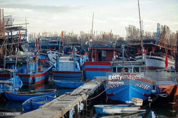 Fishing trawlers sit anchored at Tan Quang harbor in Quang Nam province Vietnam on Wednesday June 26 2019 Fishermen are on the front lines of Asias...