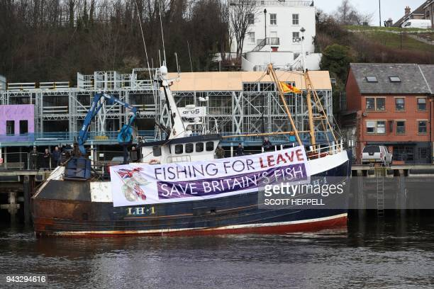 A fishing vessel is moored at North Shields fish quay on the River Tyne prior to joining a protest against the Brexit transition deal that would see...