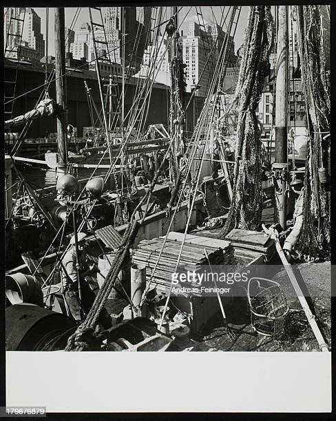 Fishing vessels at anchor on South Street New York harbor New York New York 1942