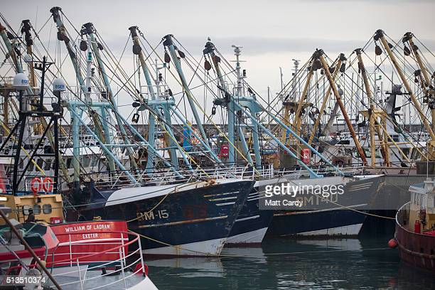 Fishing vessels moored in Brixham harbour on March 3 2016 in Devon England The UK's fishing industry is likely to be radically affected by the...