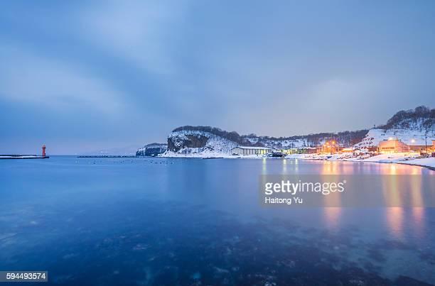 Fishing village (祝津漁港) at blue hour, Hokkaido, Japan