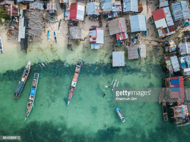 Fishing village from sky