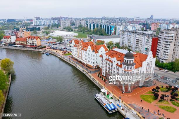 fishing village in kaliningrad. aerial drone shot. - fishing village stock pictures, royalty-free photos & images