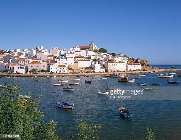 fishing village of ferragudo, portimao, algarve, portugal - portimao stock photos and pictures