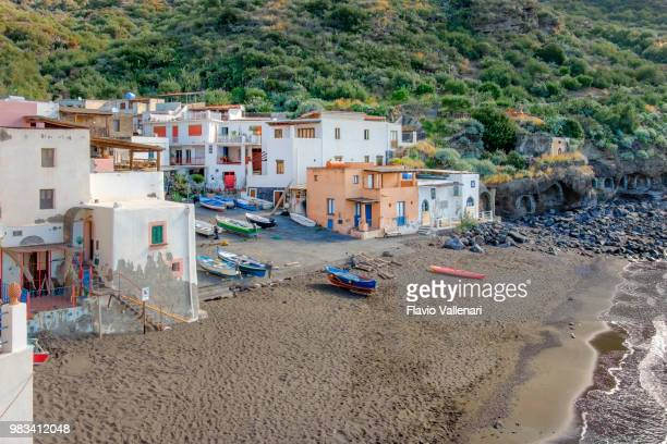 fishing village of rinella in salina, the second largest island of the aeolian archipelago (sicily, italy) - isola di salina sicilia foto e immagini stock