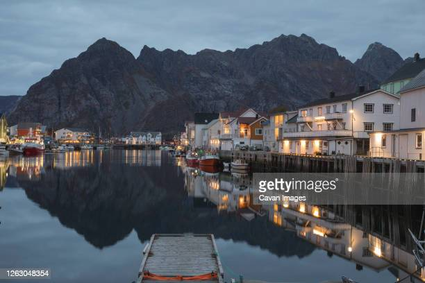 fishing village on the lofoten islands at night - editorial stock pictures, royalty-free photos & images