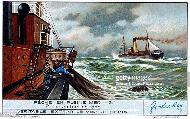 Fishing with a deep sea net French Liebig trade card early 20th century 'Peche au filet de fond' No 2 in the 'Peche en Pleine Mer' set of cards about...